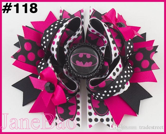 2018 Newest 5.5'' inspired hair bows popular cartoon bow with lined clips