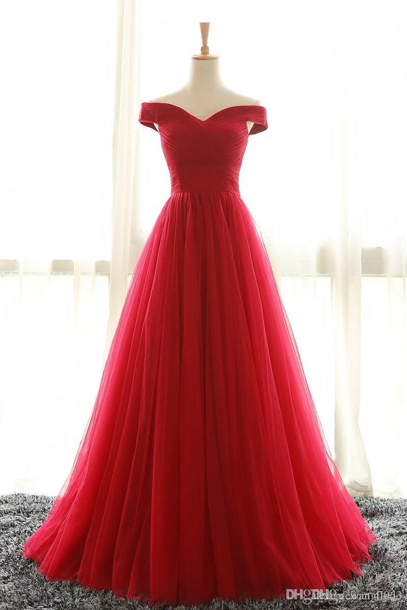Off Shoulder Red Tulle Prom Party Dresses Sweep Train Pleated Plus Size Corset Formal Evening Gowns