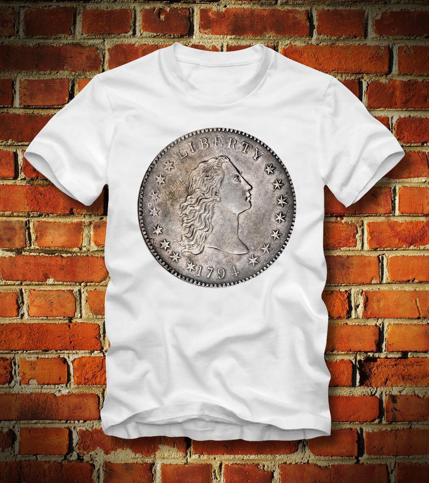 ea6673b997f BOARDRIPPAZ T SHIRT FLOWING HAIR DOLLAR COIN 1794 1795 MNZE SILVER  NUMISMATIK Mens 2018 fashion Brand T Shirt O-Neck