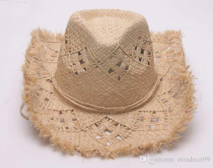 Brand Men Cowboy Raffia Straw Hats Fedoras Wide Brim Hat Women Handmade  Knitted Beach Summer Sun Fedora Caps NEW Cowgirl Straw Cap Wholesale Men  Straw ... cec2748a9f0