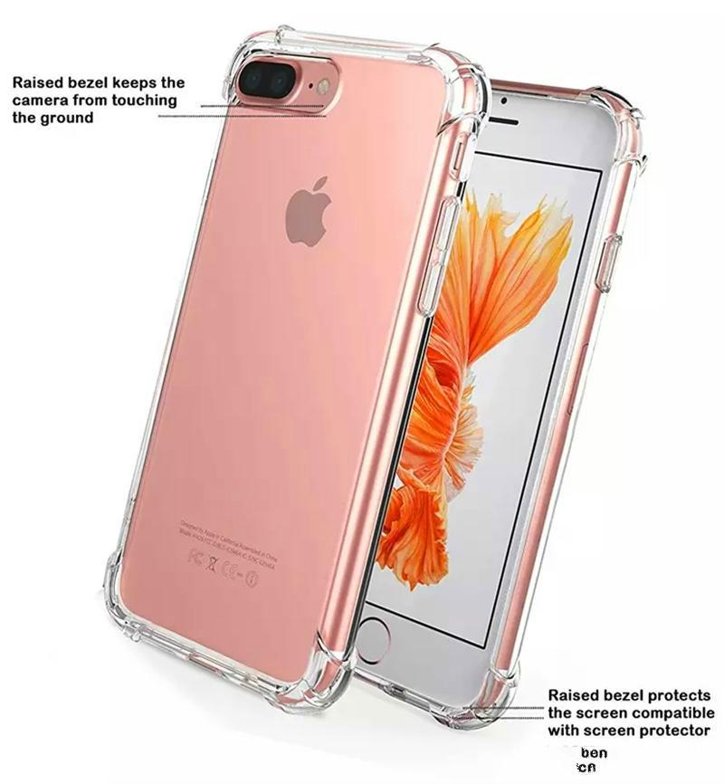 Hot sale Shockproof Transparent Case for iPhone X 8 7 6 6S Plus Soft Gel TPU Case Clear Back Cover for Samsung S8 S8Plus