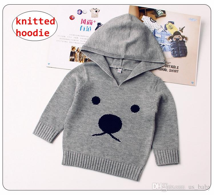 76dc2a2f5520 INS Baby Bear Knitted Hoodie Kids Girl Boy Autumn Winter Coats ...