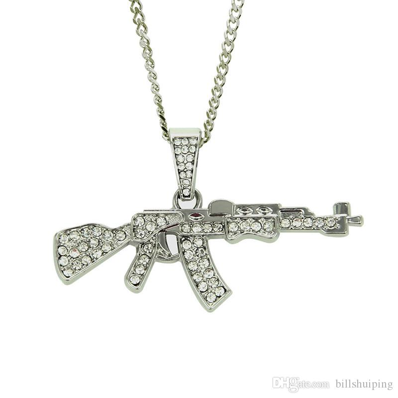 Hot Mens Gold Silver Plated Iced Hip Hop Gun Pendant Necklace Cuban Chain Fashion Jewelry For Christmas birthday Gift