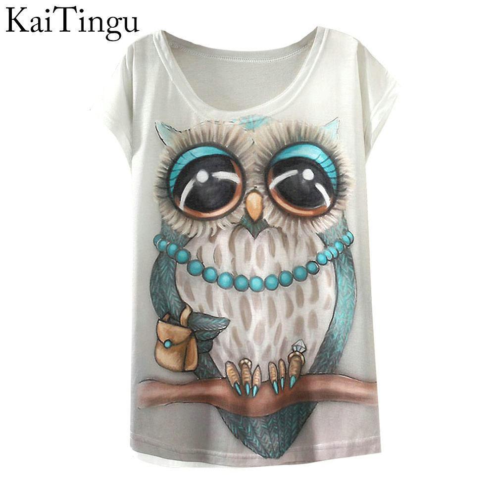 336af30b121 Compre KaiTingu 2018 Nueva Moda Vintage Primavera Verano Camiseta Mujeres  Ropa Tops Animal Owl Print T Shirt Impreso Ropa De Mujer Blanca A  9.05 Del  ...