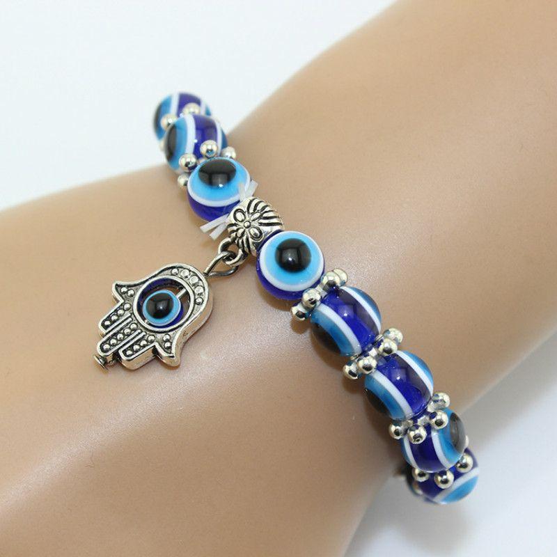 Blue Evil Eye Beaded Bracelets 8MM Acrylic Beads Bracelets Fatima Hand Alloy Pendant Beaded Bracelet Jewelry
