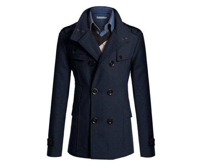 S-XXXL navy blue Korean men woolen coat fashion Slim wild double-breasted coat business men lapel jacket pocket #651965