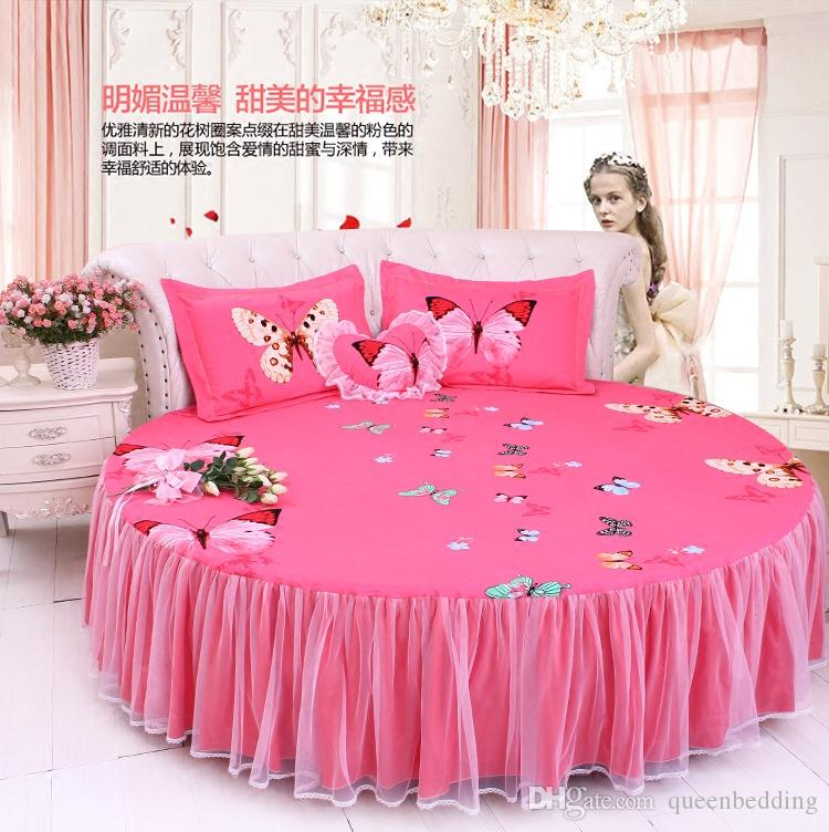 sweet Round bed lace pink polka dots duvet cover set lace bow round bed bedding set 2m/2.2m/ 2.5m wedding luxury bed large king size
