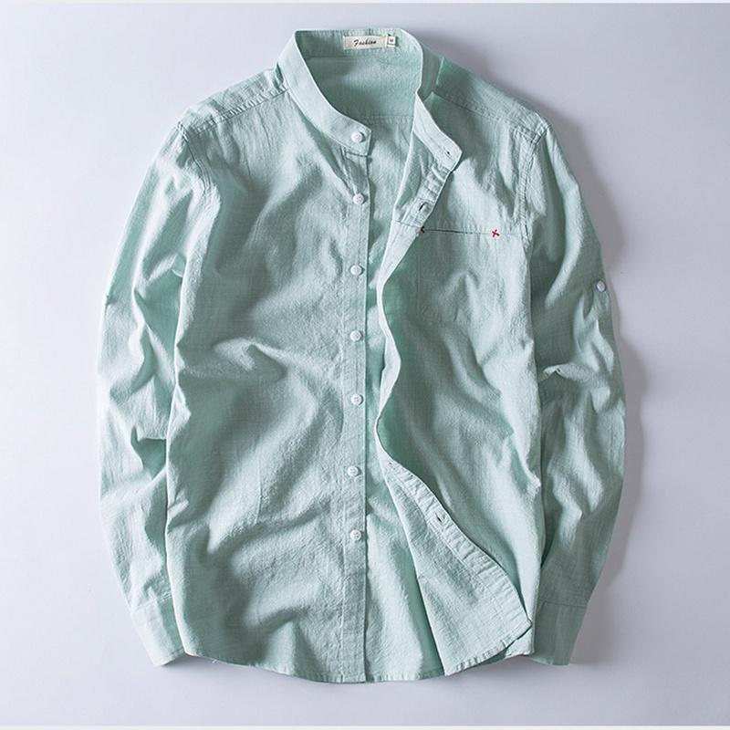 Compre 2018 Hombres Moda Camisa Retro Manga Larga Suave Camisas De Lino  Cuello De Soporte Para Hombre Estilo Chino Nuevas Camisas Slim Fit Color  Sólido 5XL ... 6aee171309aa4