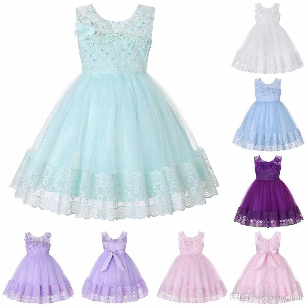 Lace Flower Girl Dress Princess Sleeveless Wedding Formal Birthday Party Tutu Gown Children Clothes