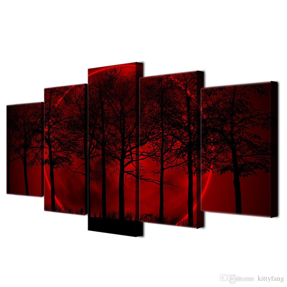 5 Teile / los HD Moderne Leinwand Wandmalerei Red Moon Sky Home Decor Bild Poster Kunstwerke