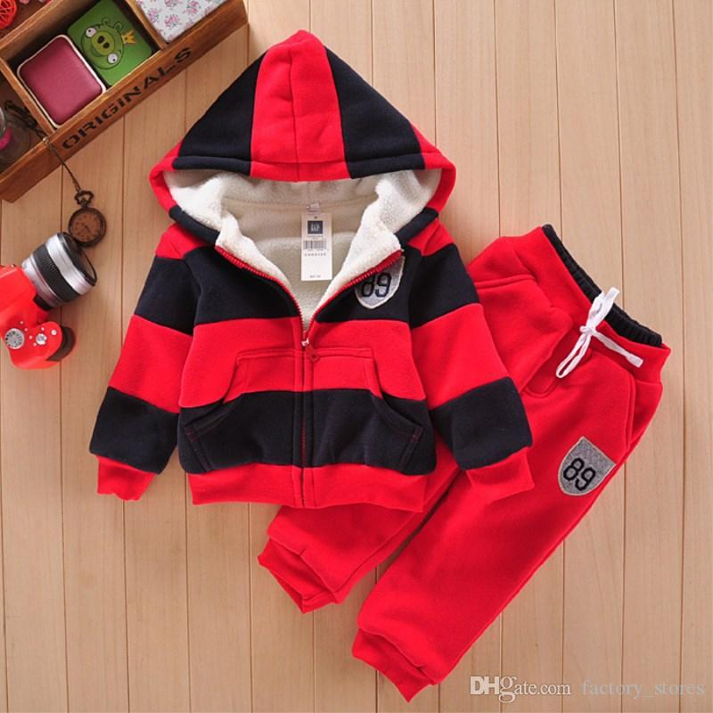 030f06b4c030 Boys Girls Children Hoodies Winter Velvet Sherpa Baby Sports Suit ...