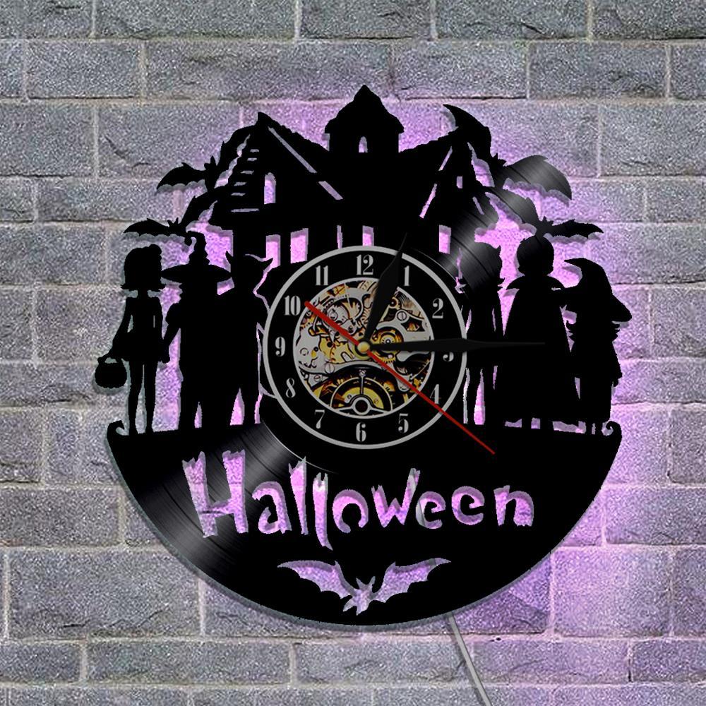 Halloween Verlichting.1 Stuk Halloween Vinyl Wandklok Met Led Verlichting Kleur Veranderende Handgemaakte Vinyl Licht Wandklok Grote Halloween Party Decor