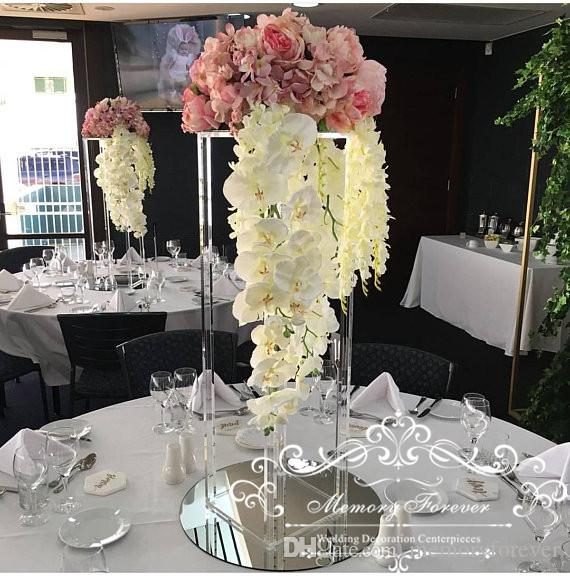 Centerpieces For Wedding.Acrylic Floor Vase Clear Flower Vase Table Centerpiece For Marriage Modern Vintage Floral Stand Columns For Wedding Decoration