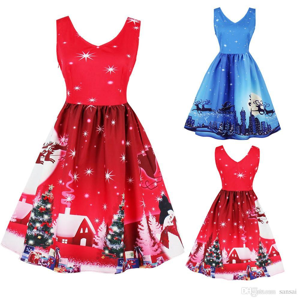 d40808351f8ff 2019 Christmas Dress Vintage Retro Women Sleeveless A Line Vestidos De  Fiesta 2017 Girl Lady Plus Size Santa Xmas Swing Skater Dress From Sansai