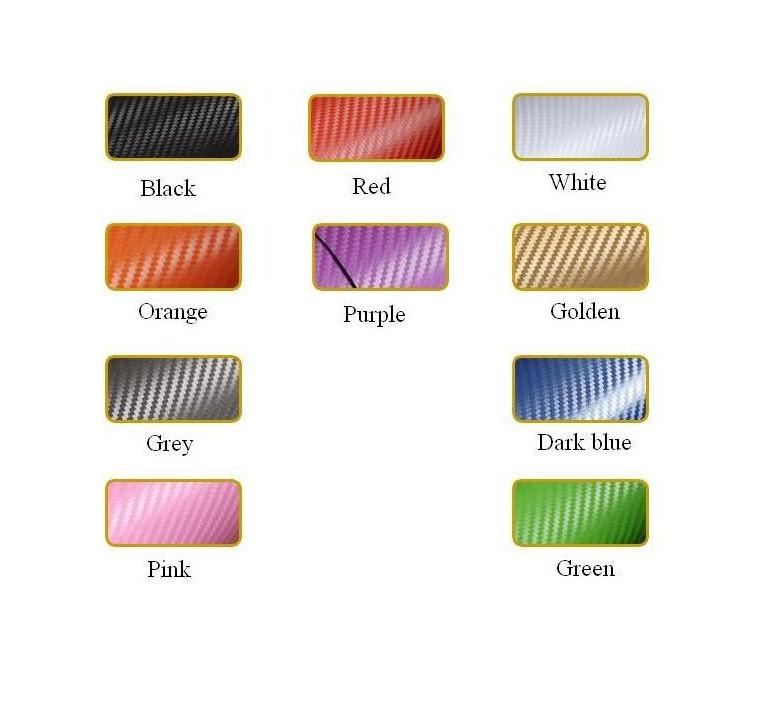 3D Carbon Fiber Film Sticker Car 127*30CM Car Body Decoration Carbon fiber Membrane Purple Orange Blue White ATP102