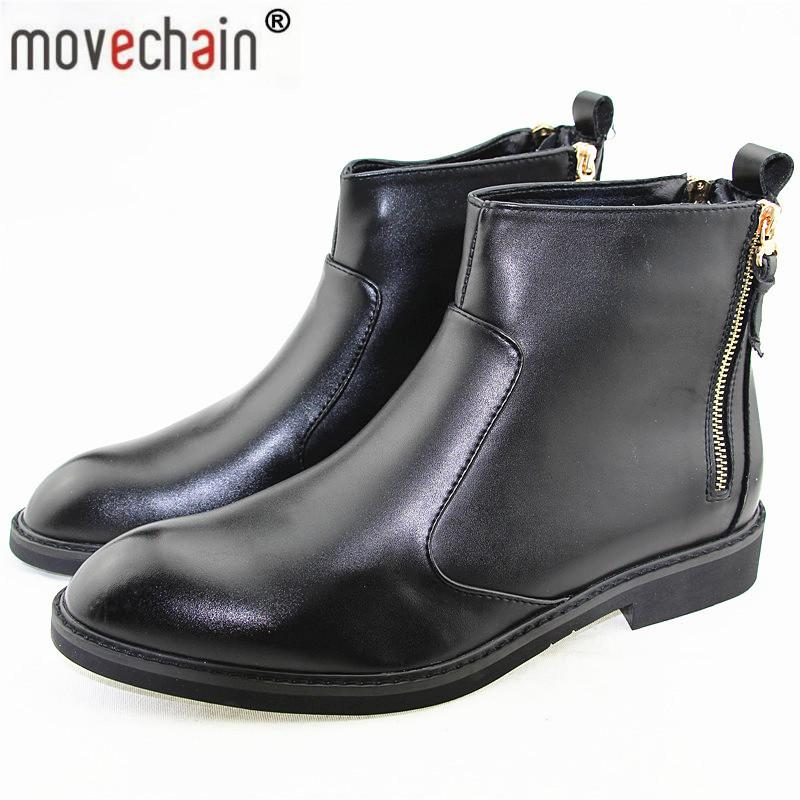 Fashion Men's Genuine Leather Ankle Boots Man Zipper Punk British Style Boot Mens Casual Shoes Flats