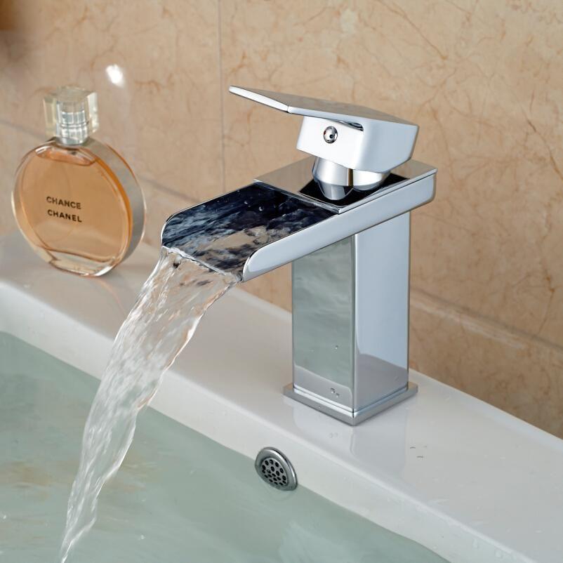 Best Wholesale Waterfall Bathroom Sink Faucet Chrome Brass Hot ...