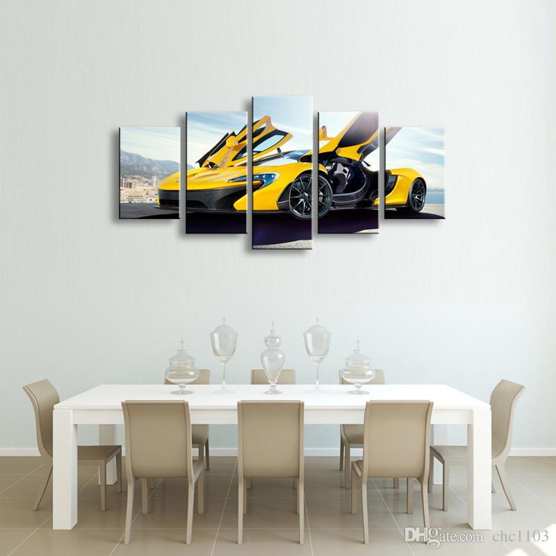 5 peças de impressão de alta definição carro esportivo lona cartaz pintura a óleo e arte da parede sala de estar imagem C5-22