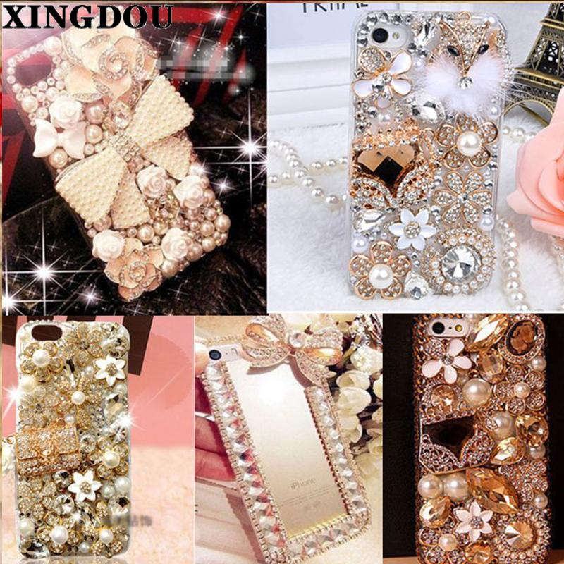 Xingduo 3d hecho a mano de lujo Bling Jeweled Rhinestone Diamond Crystal Hard Case Cover para Iphone 7 7plus 5 / 5s / 6 / 6s / 6plus