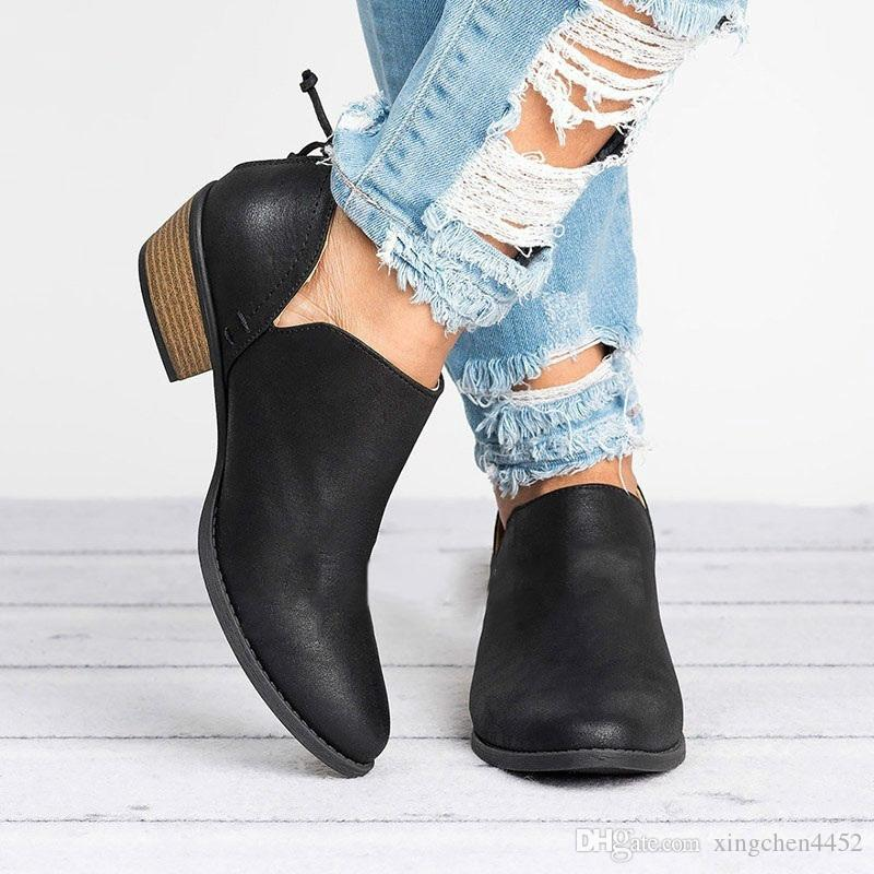 d421d580 2018 Trendy Women'S Cute Booties Zipper Casual Shoes Fashion Non Slip Bare  Boots Pointed Thick With Single Shoes Ladies High Heels Womens Loafers Mens  ...