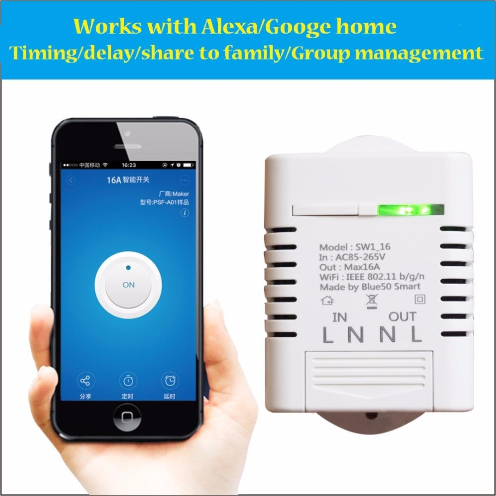 Ewelink SW1_16W Wireless Wifi Switch Smart Home Automation Module for  iPhone Android 16A