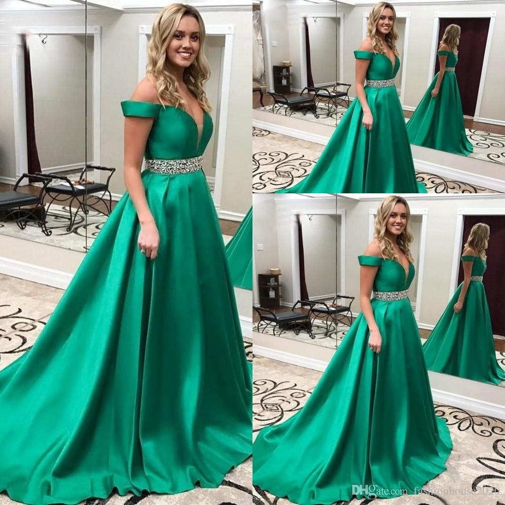 2018 Cheap Green Off Shoulder Keyhole A Line Satin Evening Dresses ...