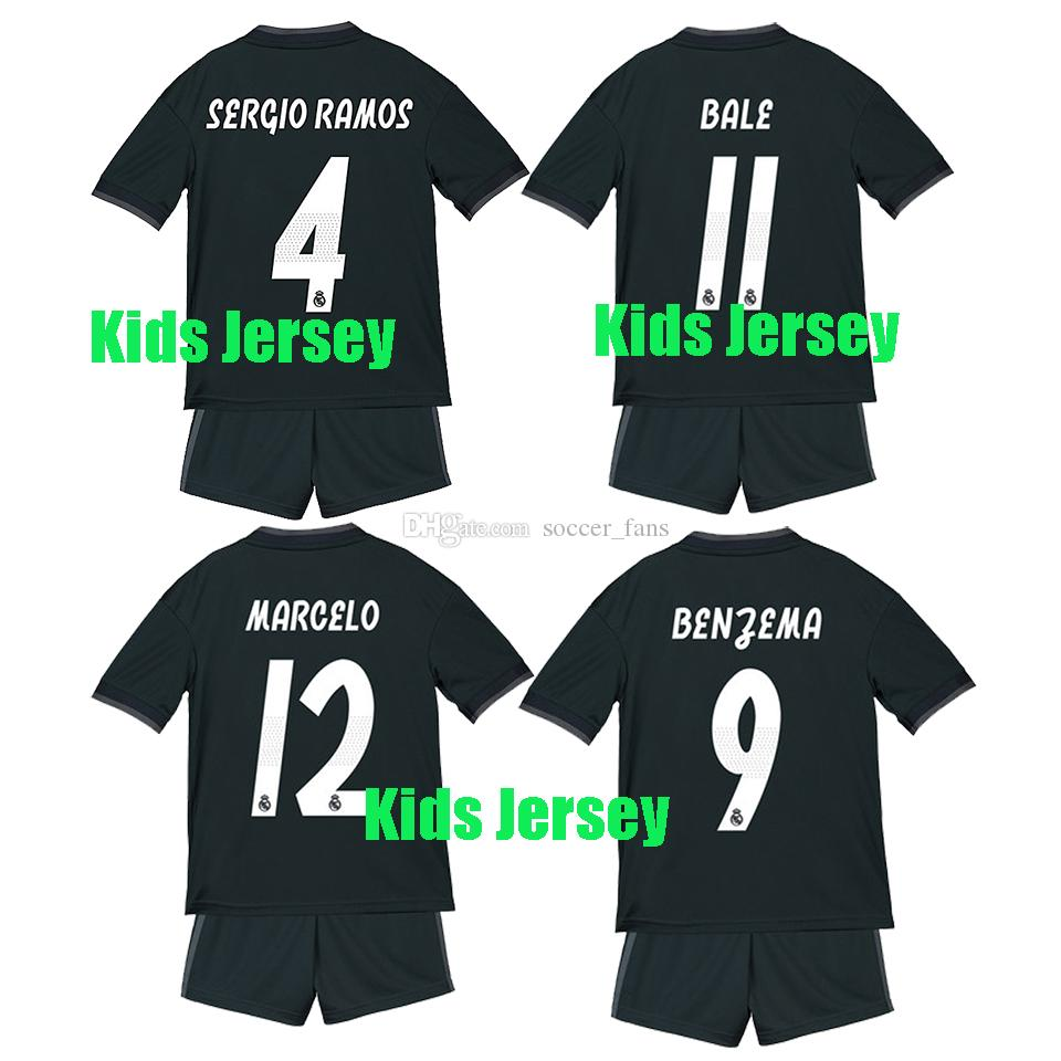 1819 Real Madrid Soccer Jersey Kids Kit 18 19 Real Madrid Away ... 41f19a5ca