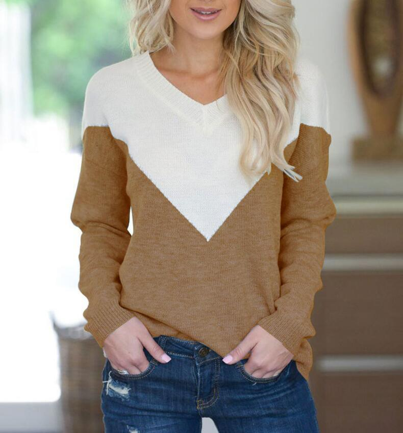 8d398f99459 Women Europe America New Long Sleeve Sexy V Neck Knitting Pullovers Top  Casual Fashion Autumn Winter Slim Lady Patchwork Sweater Online with  38.3  Piece on ...
