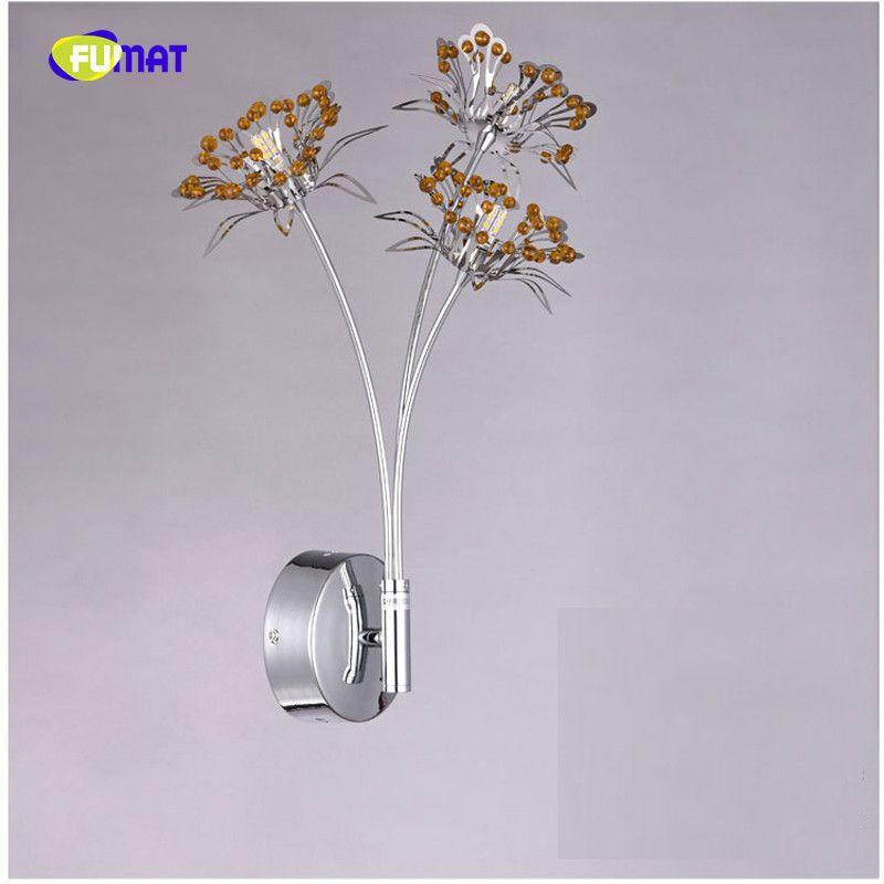 New beautiful thin Aluminium butterfly crystal wall lights modern wandlamp 3 lights lustre wall lamp bedroom living room lighting