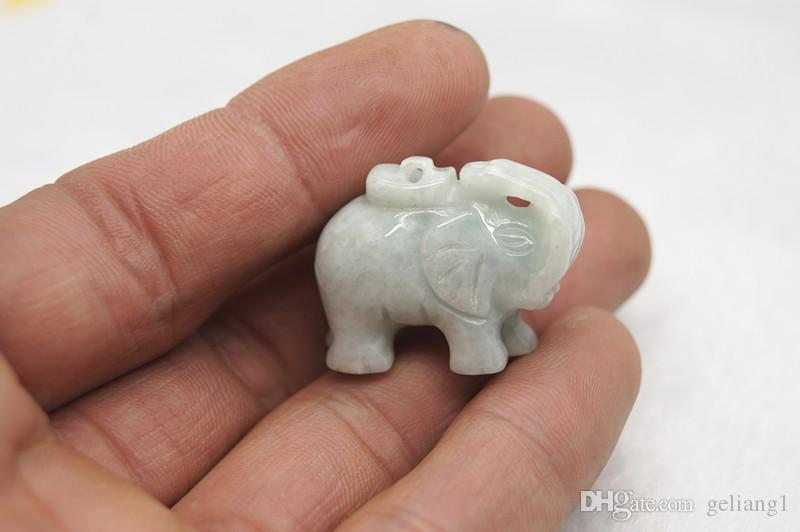 Jade blanco natural, elefante tridimensional tallado a mano auspicioso, collar afortunado.