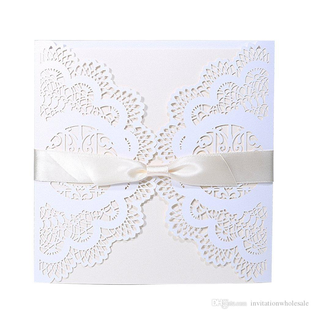 Elegant Laser Cut Lace Wedding Party Invitations Cards With