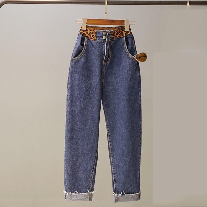 e25e6afb2e6 Compre Nuevo Leopardo Elástico Jeans De Talle Alto De Las Mujeres Jeans  Rectos Sueltos Pantalones De Mujer Verano Capris Mujeres Pantalones De  Mezclilla ...