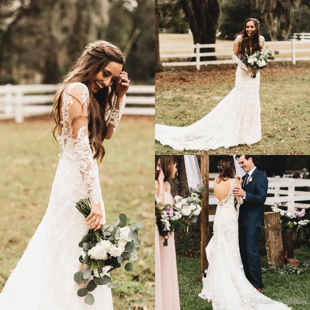 a58e986b03527 2019 Elgeant Vintage Spring Summer Lace Wedding Dresses Sheer Long Sleeves  Open Back Beach Wedding Gowns For Garden Country BA6407 Halter Top Wedding  ...