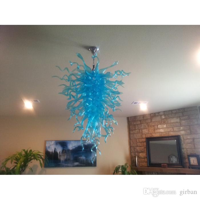 AC Led Murano Art Suspended Ceiling Hand Blown Glass Flower Light Fixtures Chandelier for Kitchen Decor