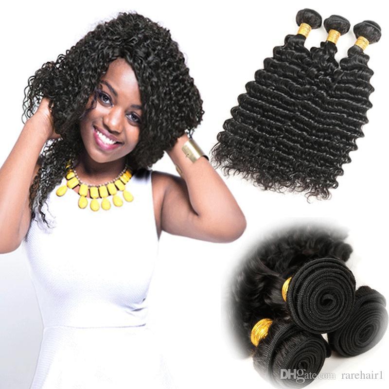 Indian Virgin Hair Deep Weave 3 Bundles 100 Remy Human Hair Weave