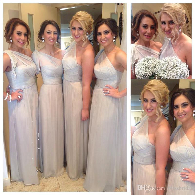 2018 Modern One Shoulder Chiffon Bridesmaid Dress A Line Ruffle Silver  Wedding Guest Dress Floor Length Zipper Back Maid Of Honor Dresses Wine  Colored ... 2e6ac9ac764f