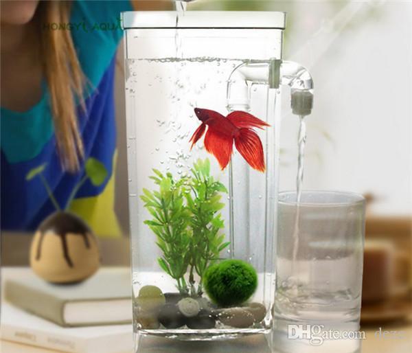 Mini Lazy Fish Tank Aquarium Creative Self Changing Water Tank Acrylic Desk  Aquarium Tanks Office Home Decoration Gift For Kids Aquariums Fish Tanks ...