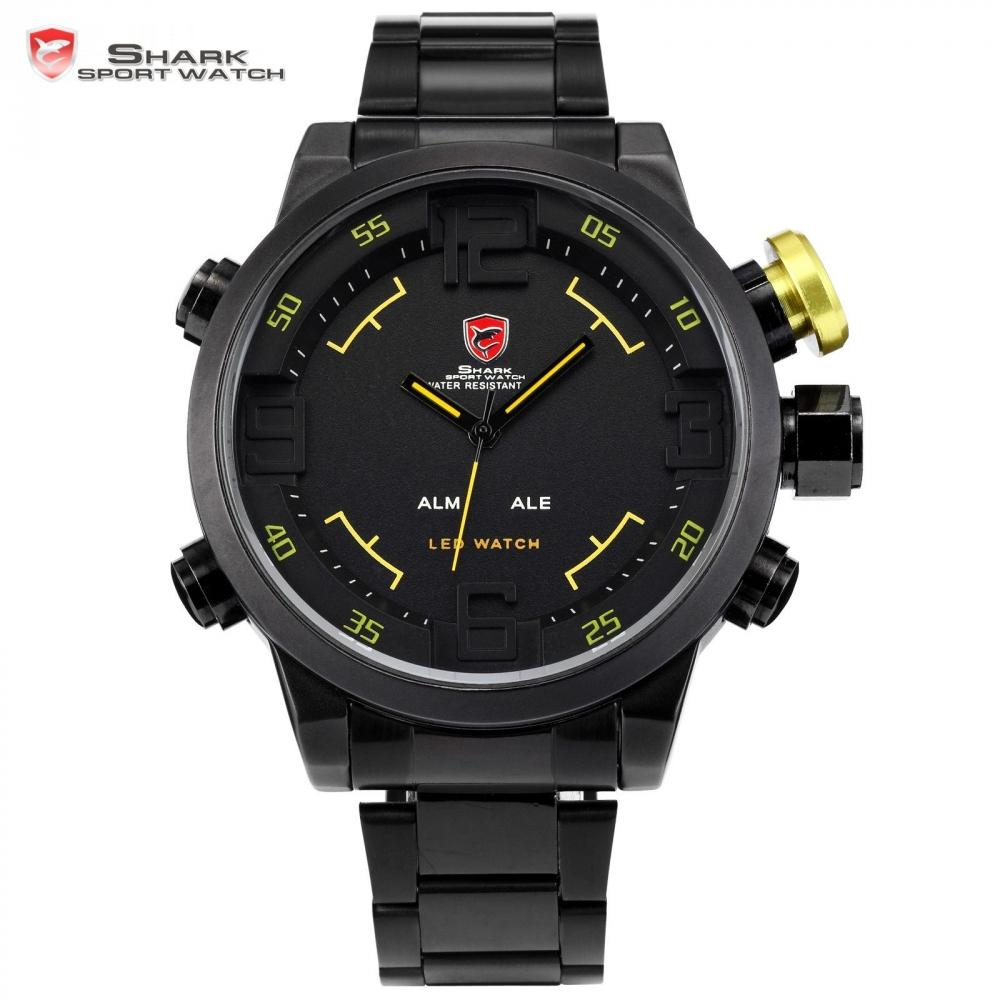 Luxury SHARK Sport Watch Display a LED in acciaio inossidabile nero giallo Data Day Alarm Quartz Tag Uomo Orologio digitale / SH107