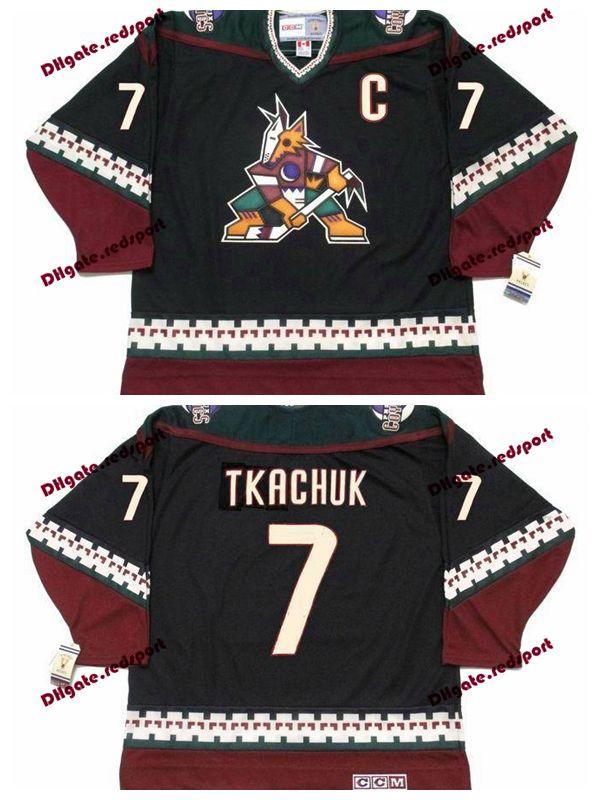 Custom 1998 Phoenix Coyotes KEITH TKACHUK Hockey Jerseys Home Black Vintage  CCM 7 KEITH TKACHUK Stitched Jerseys C Patch UK 2019 From Redsport eae6c6312