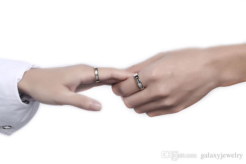 YHAMNI Couple Romantique Anneaux Cadeau Pour Hommes et Femmes Authentique Solide 925 Argent Or Pour Toujours Amour Bague De Fiançailles Bijoux R096