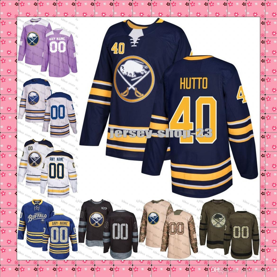 separation shoes 89a89 8e1ec 2018 New Buffalo Sabres Mens 40 Carter Hutton Royal Blue navy White green  purple ice Hockey Jersey Stitched S-3XL