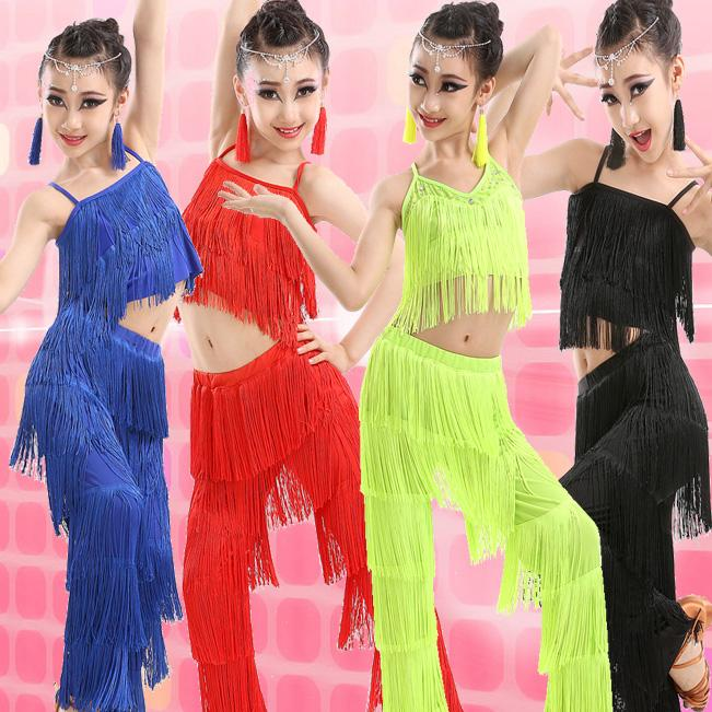527b084ac 2019 Latin Dance Dresses For Sale Ballroom Plus Size Fringe Tassel Dress  Pants Sequin Fringe Salsa Samba Costume Kids Children Girls From Alberty,  ...