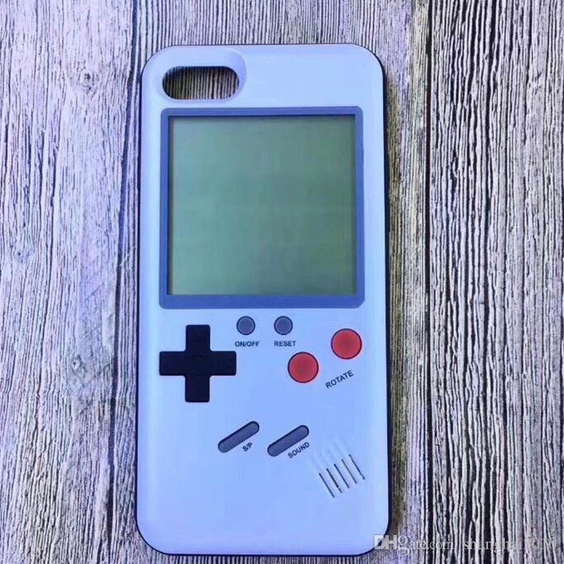 Silicone 3D jeu russe Jeu rétro téléphone Case jeu TPU pour iPhone 6 7 8 X Couverture Shell de protection Noir / Blanc