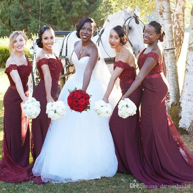 d621c56b91b 2018 Burgundy Backless Off Shoulders Mermaid Bridesmaid Dresses Sweetheart  Beaded Lace Bodice Elegant Sweep Train Formal Dresses With Ribbon Custom ...