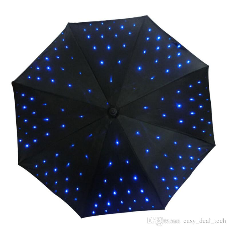 Versorgen Sie LED-Licht uv-Regenschirm mit Taschenlampenfunktion leuchtender dekorativer Regenschirm für Fotografie oder Bühnenaufführungsdekor Q0733