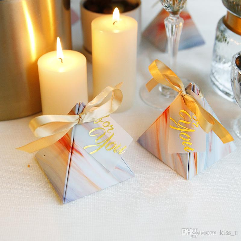 Pyramid Shape Wedding Candy Box Sweets Gift Favor Boxes with Ribbon Party Event Decoration Supplies