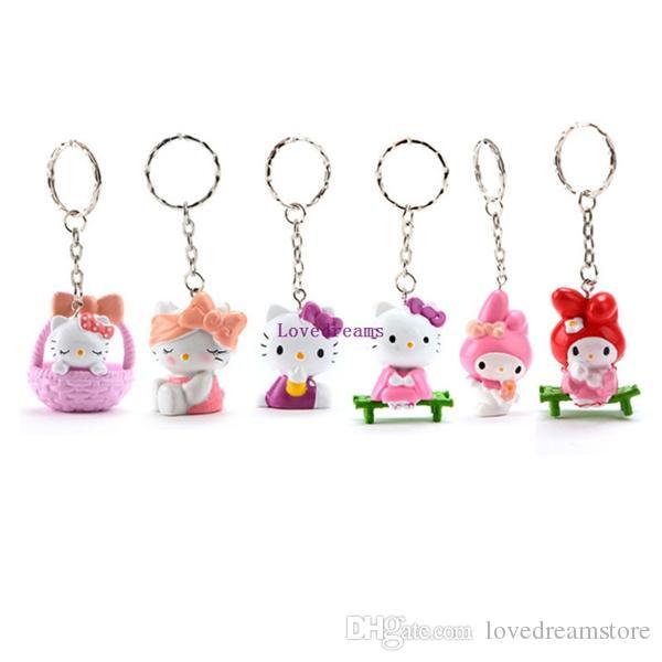 Anime Cartoon Cute Hello Kitty Mini phone Key Ring PVC Chaveiro Keychains Action Figure Toys