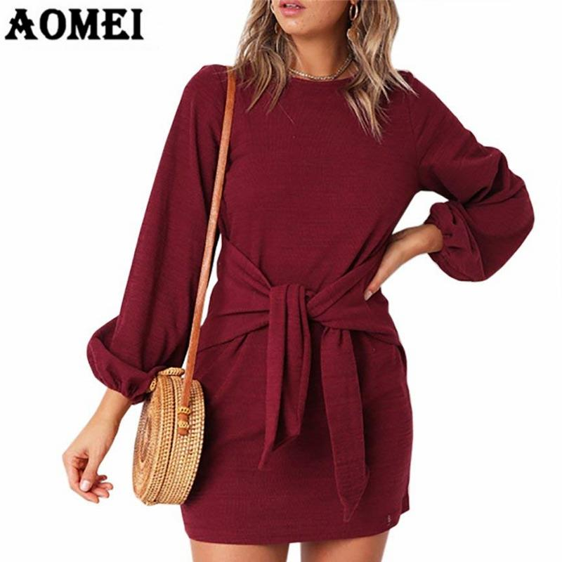 2019 Female Autumn Knitting Dress Long Sleeve Mini Sheath With Waistbelt  Wine Red Black Army Green Clothing Tunic Dresses Women Robes From  Insideseam, ... d2a0c0d949e