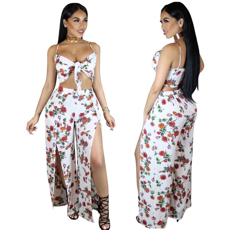 0090875ec Compre Mujeres Moda Floral Imprimir Dos Piezas Vestidos Largos 2017 Verano  Nueva Llegada De Las Señoras Casual Vendaje Maxi Largo Vestido De Split A  $34.39 ...