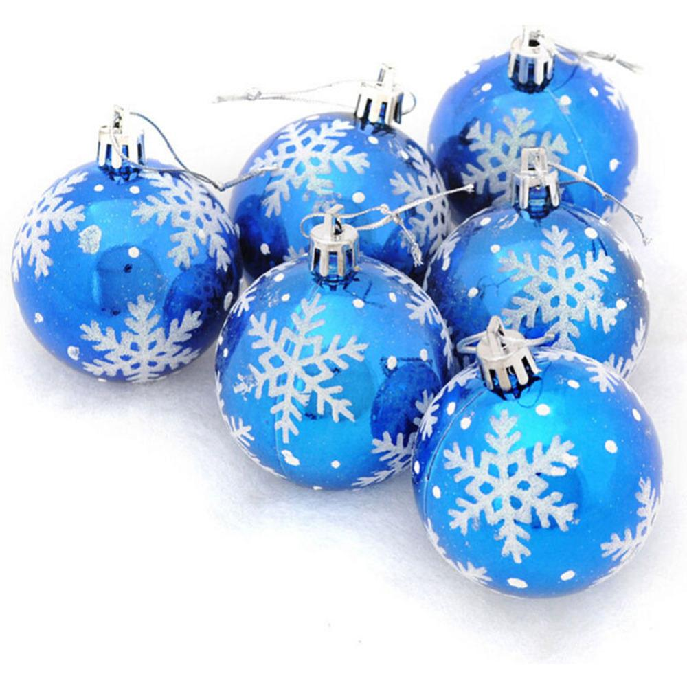 6pcs Christmas Tree Snowflake Ball Bauble Hanging 6cm Christmas Ornaments Balls 2017 Xmas Party Decoration New Years Home Decor